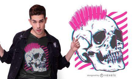 Diseño de camiseta punk skull glitch