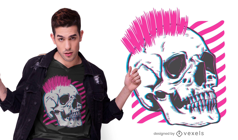Punk skull glitch t-shirt design