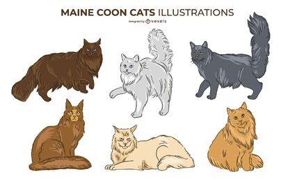 Maine Coon Cat Design Set