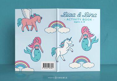 Design da capa do livro de atividades de fantasia infantil