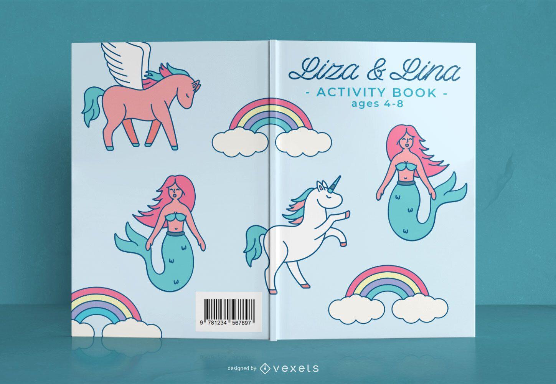 Diseño de portada de libro de actividades de fantasía para niños