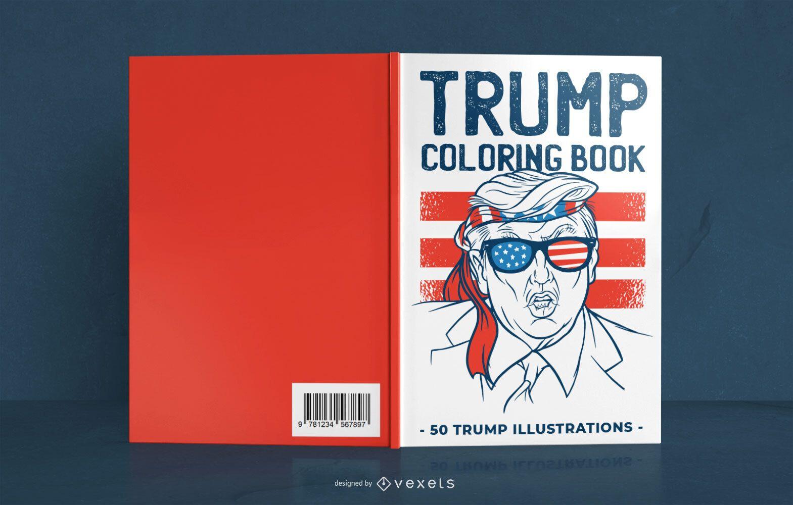 Diseño de portada de libro para colorear Trump