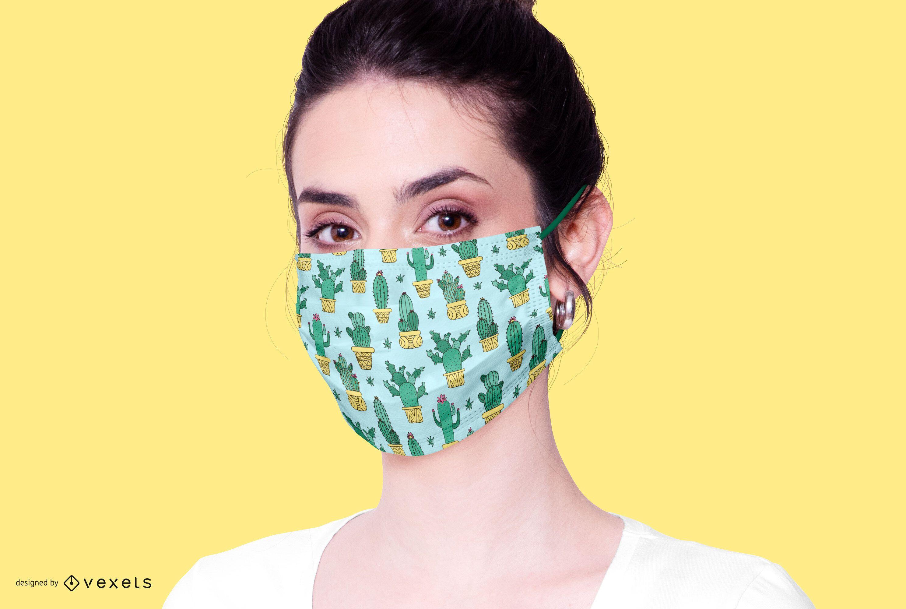 Cactus Pattern Face Mask Design