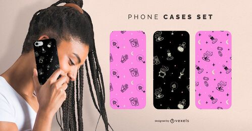 Halloween magic phone cases set