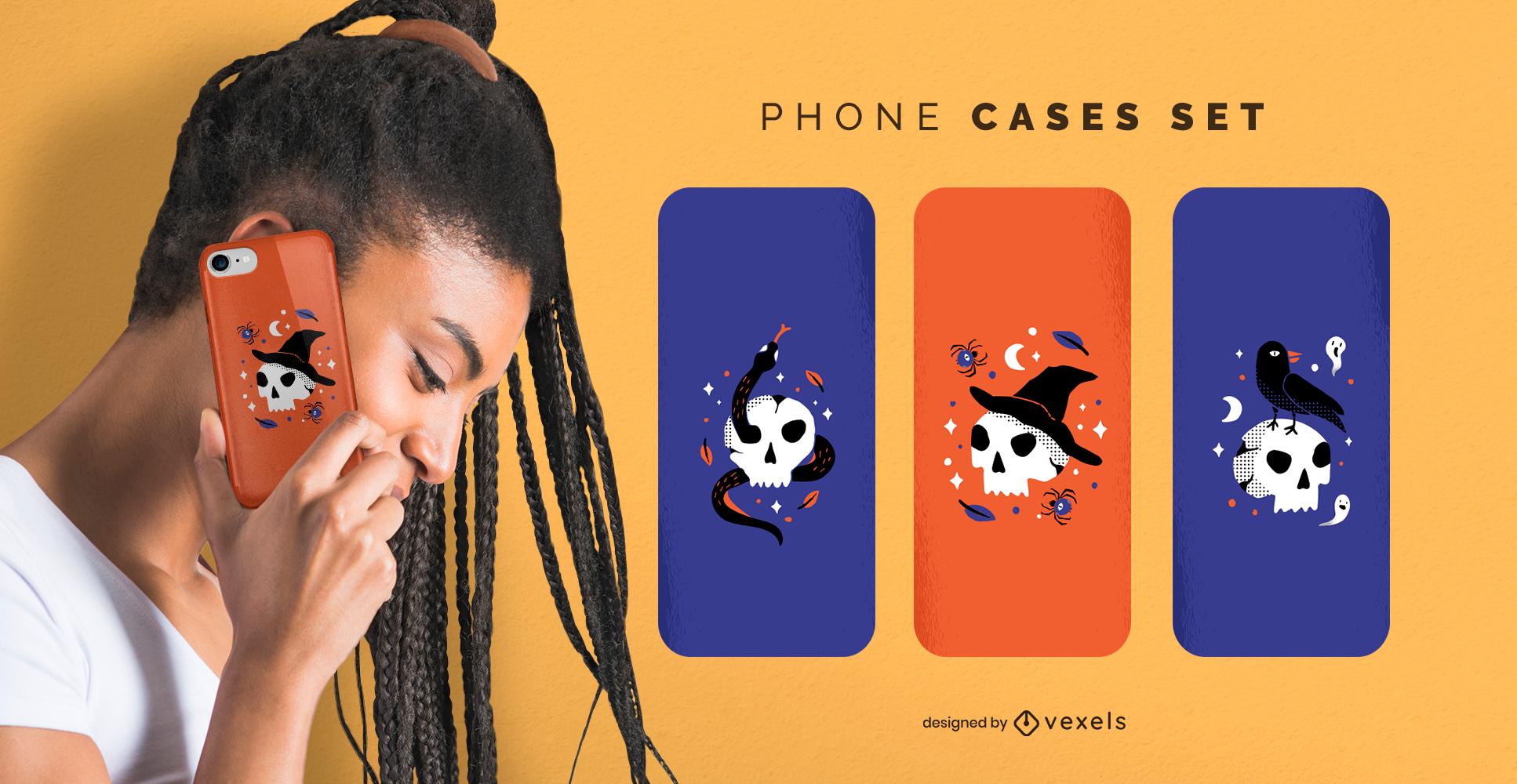 Conjunto de capas para celular com caveiras de Halloween