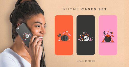 Conjunto de capas de telefone brilhantes para halloween
