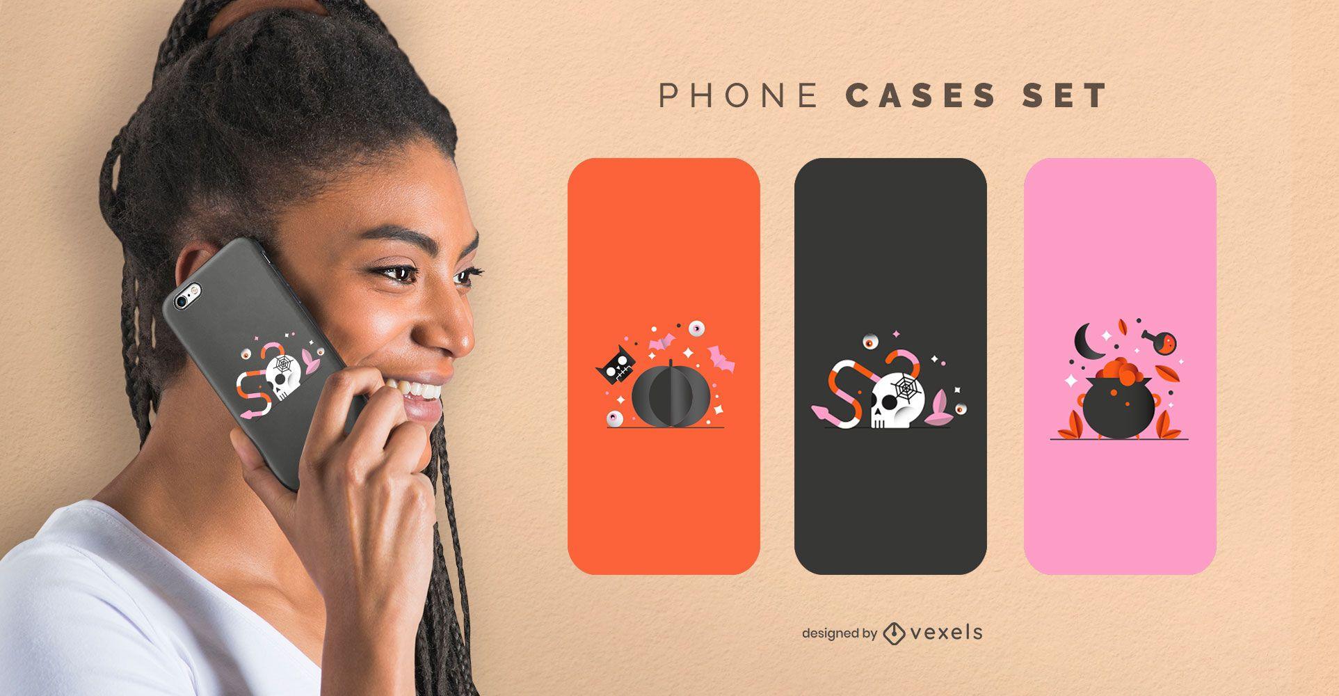 Sparkly halloween phone cases set