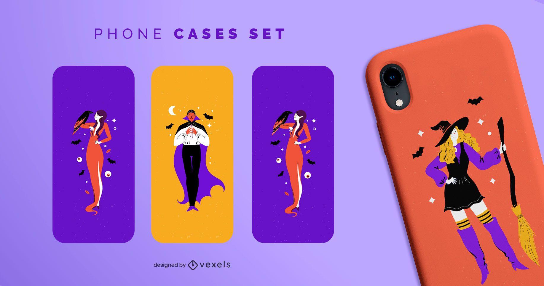 Set de fundas de teléfono con personajes de Halloween