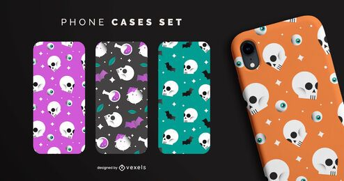 Conjunto de capas de telefone de halloween com caveiras coloridas