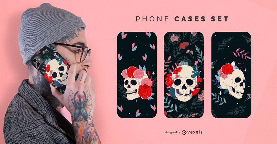 Conjunto de capas de celular com caveiras florais