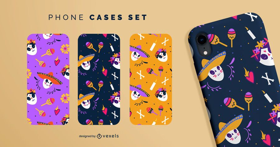 Day of the dead phone cases set