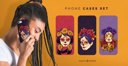Set de fundas de teléfono con maquillaje de calavera