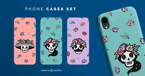 Sugar skulls phone cases set