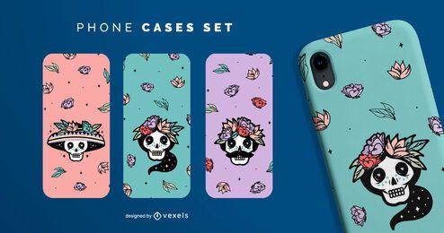 Sugar skulls phone cases set