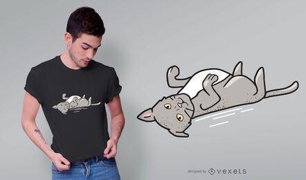 Design de t-shirt de gato cinzento fofo