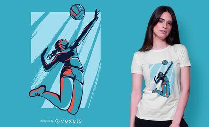 Diseño de camiseta de jugador de voleibol femenino.