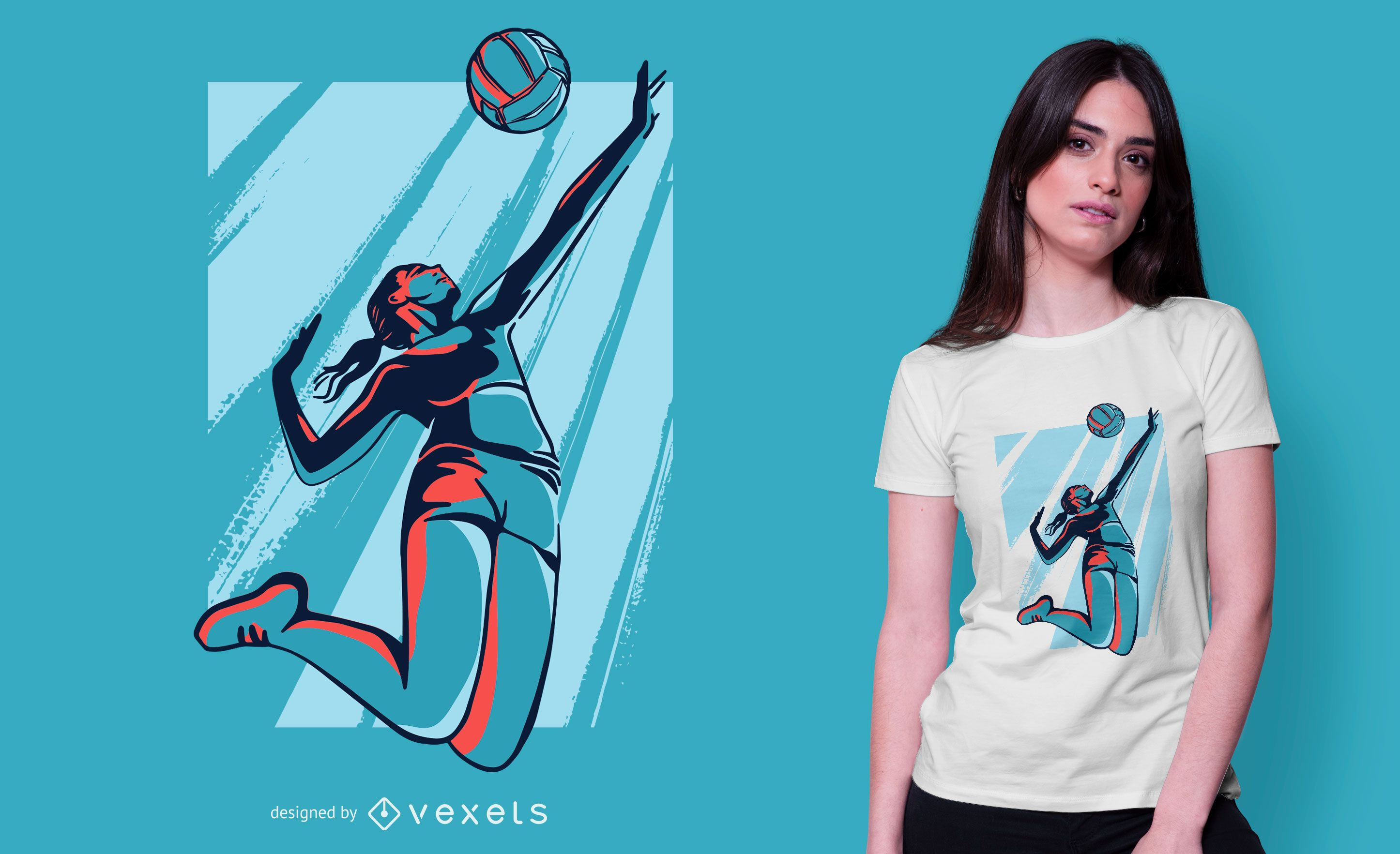 Design de camiseta feminina para jogadora de voleibol
