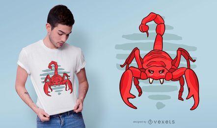 Diseño de camiseta de escorpión rojo