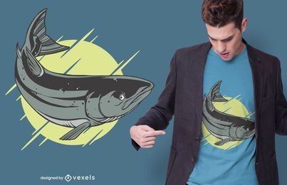 Diseño de camiseta de salmón atlántico