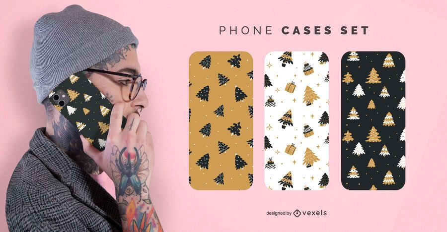 Christmas trees phone cases set