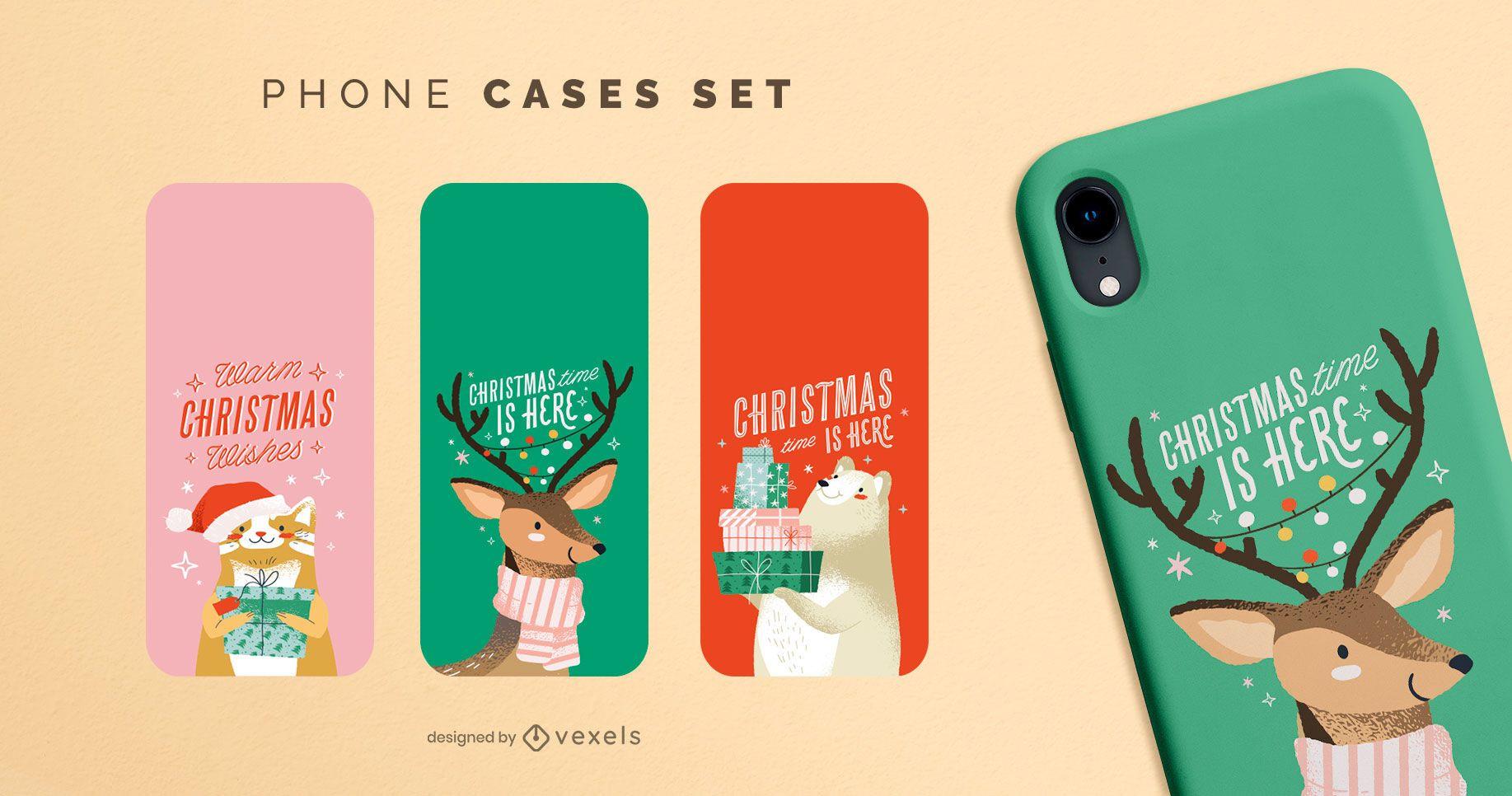 Christmas animals phone cases set