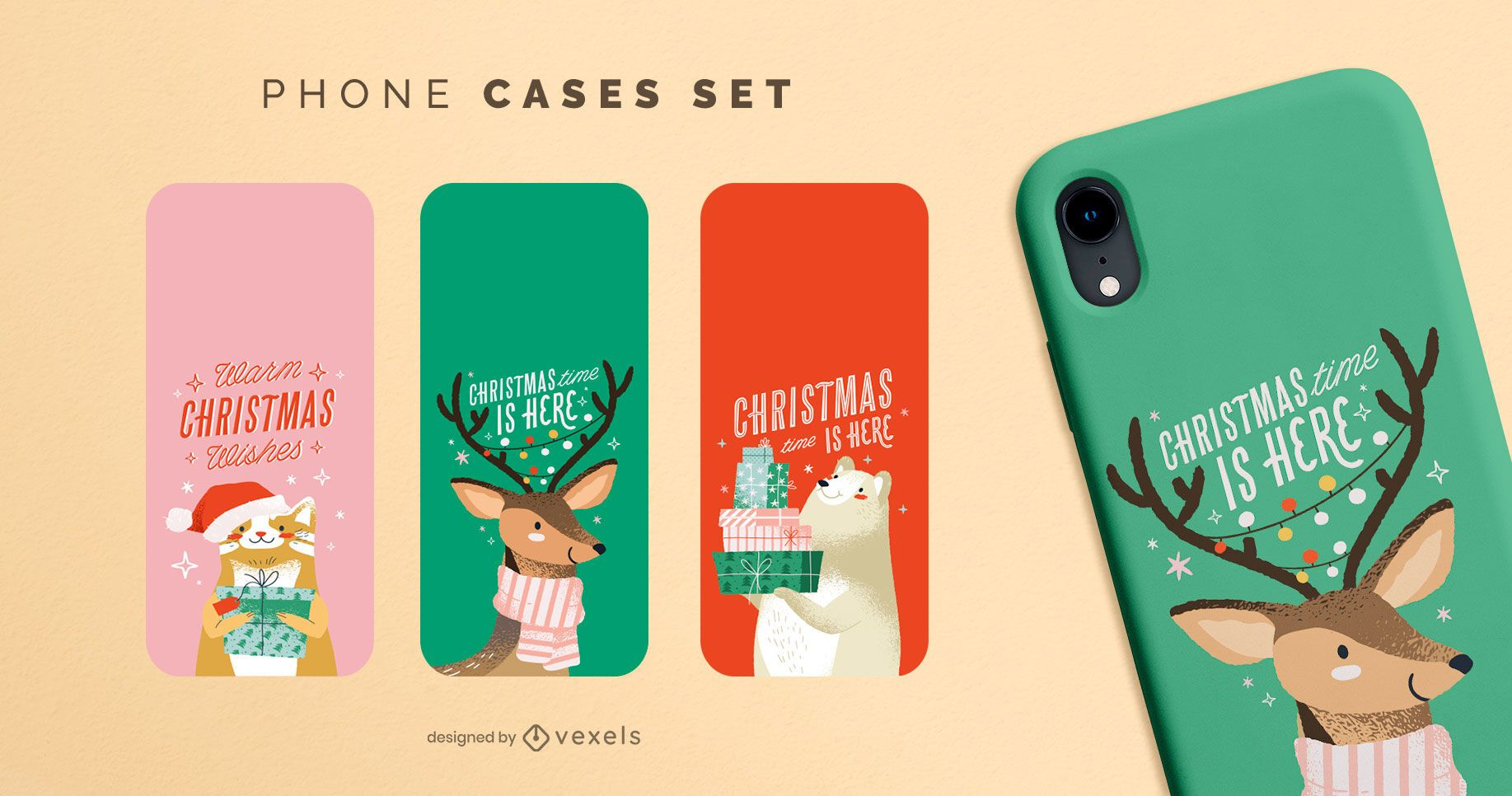 Conjunto de capas de celular para animais de natal