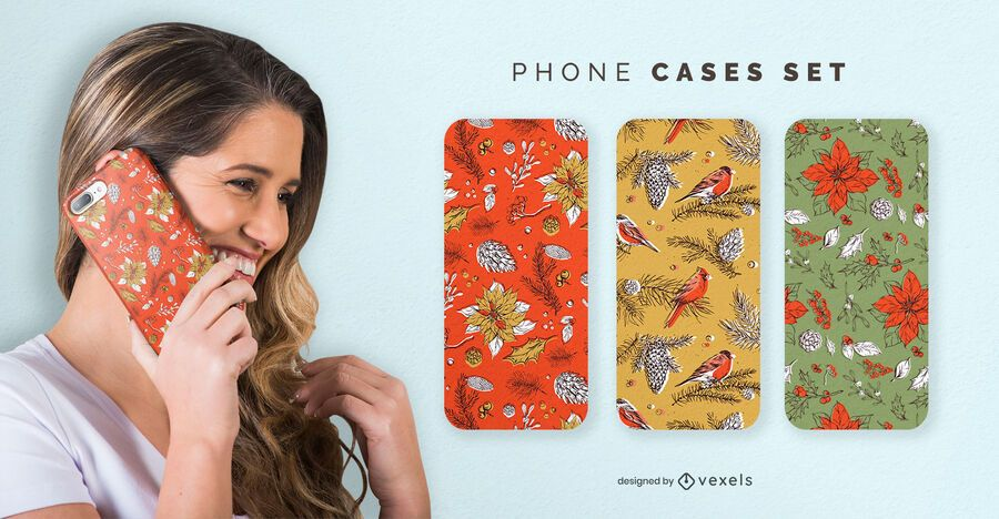 Christmas nature phone cases set