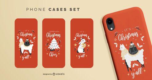 Cute christmas phone cases set
