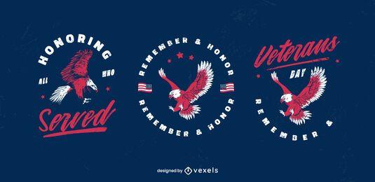 Conjunto de distintivo da águia do dia dos veteranos