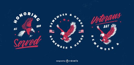 Veterans day eagle badge set