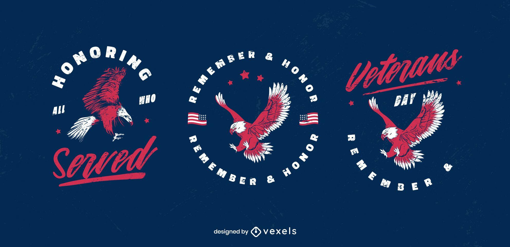 Veterans day eagle badge set