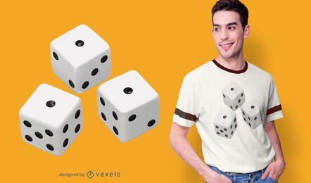 Diseño de camiseta de dados realista.