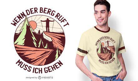 Diseño de camiseta de cita de montañas