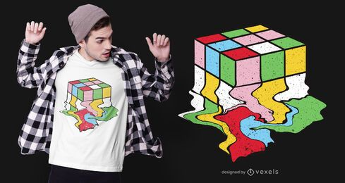 Melting rubik's cube diseño de camiseta