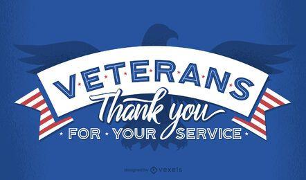 Veteranos, obrigado desenho de letras