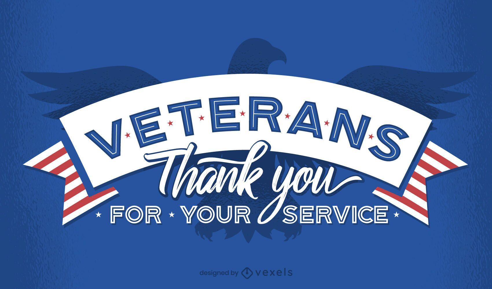 Veteranos gracias diseño de letras