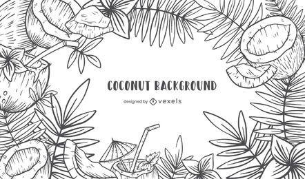 Diseño de fondo de coco dibujado a mano