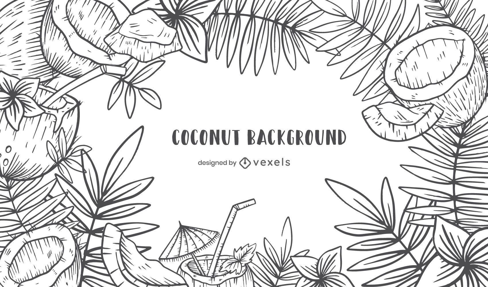 Hand drawn coconut bachground design