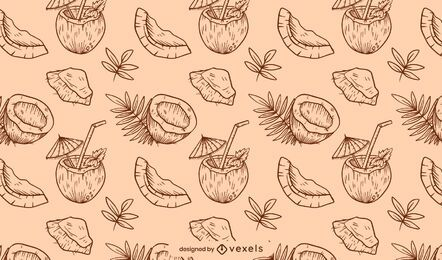 Hand drawn coconut pattern design