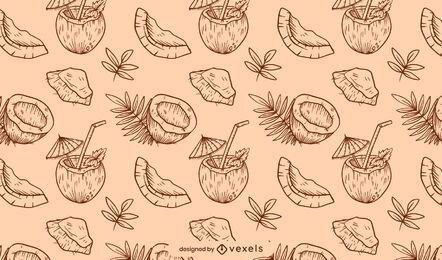 Hand gezeichnetes Kokosnussmusterdesign