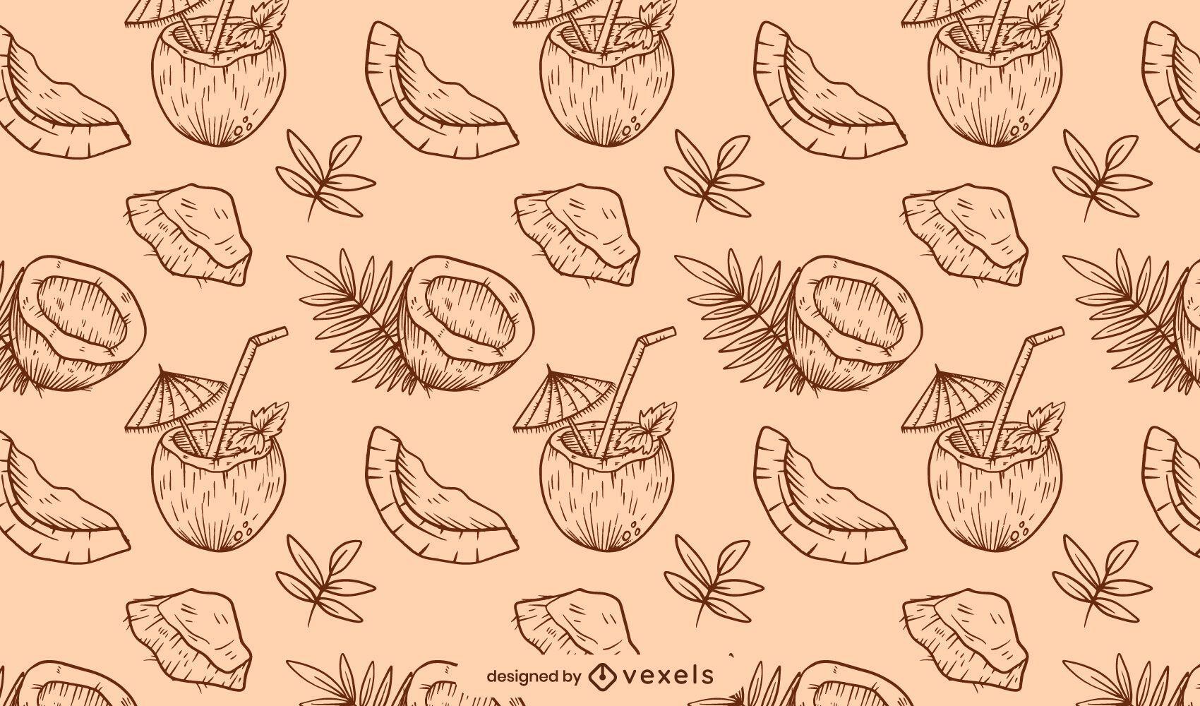 Hand drawn coconut pattern design