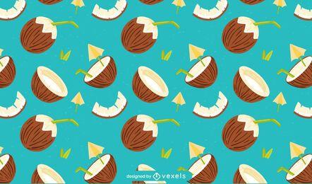 Diseño de patrón plano de coco