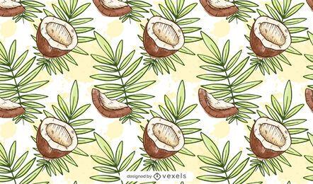 Diseño de patrón de coco acuarela
