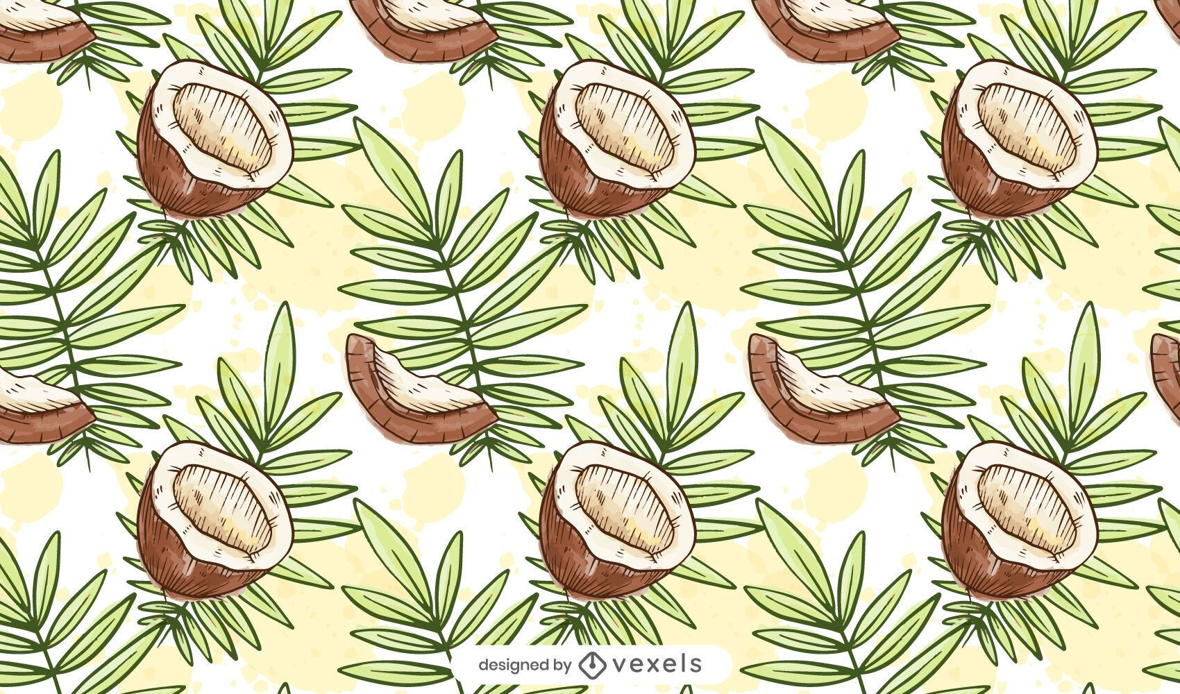 Watercolor coconut pattern design