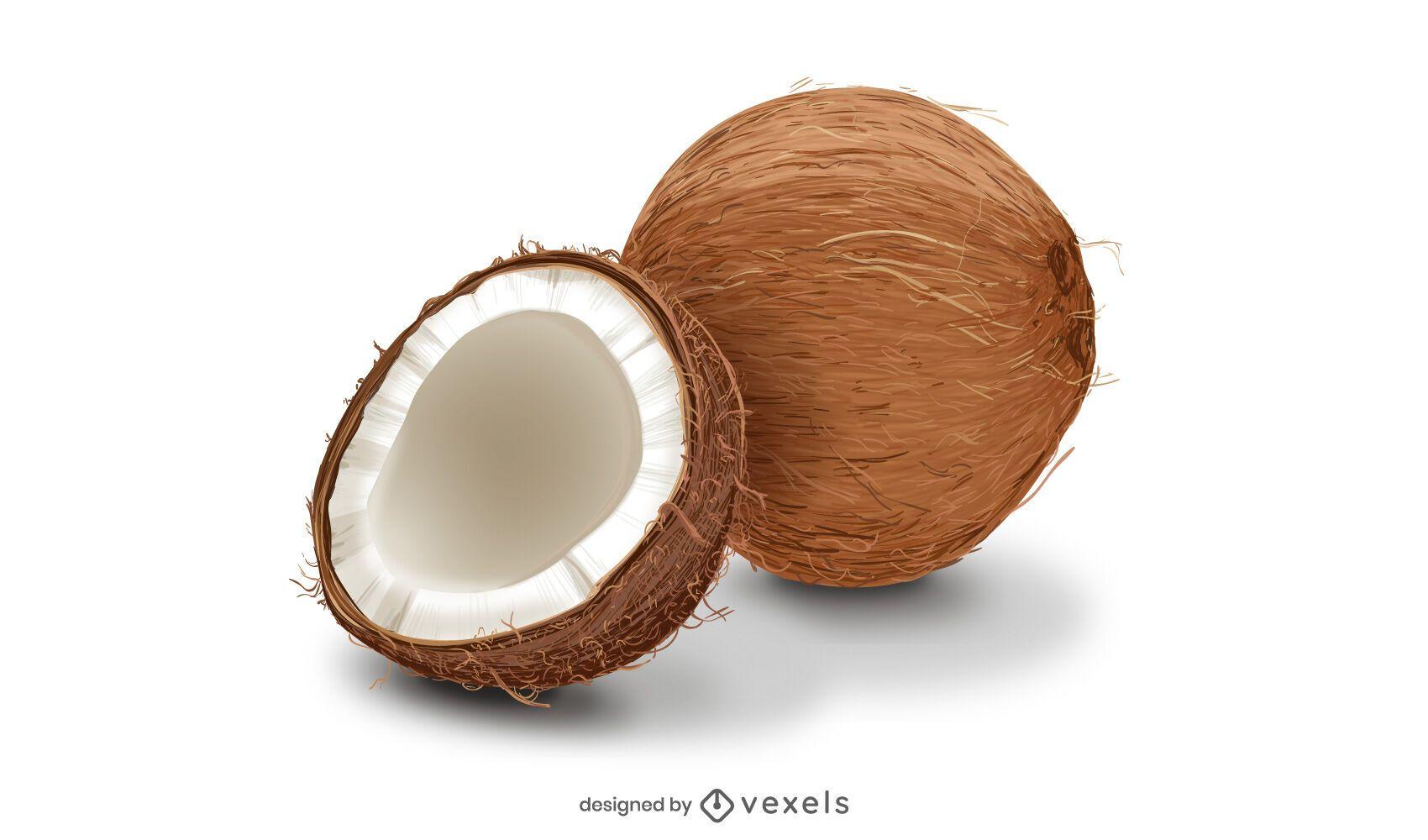 Diseño de coco realista