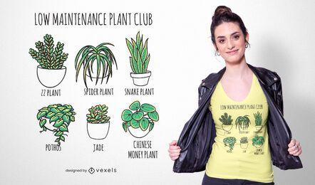 Diseño de camiseta de plantas de bajo mantenimiento.