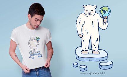 Diseño de camiseta de oso polar de calentamiento global.