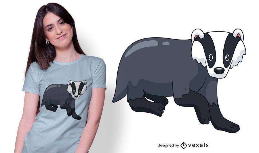 Diseño de camiseta de mirada animal tejón