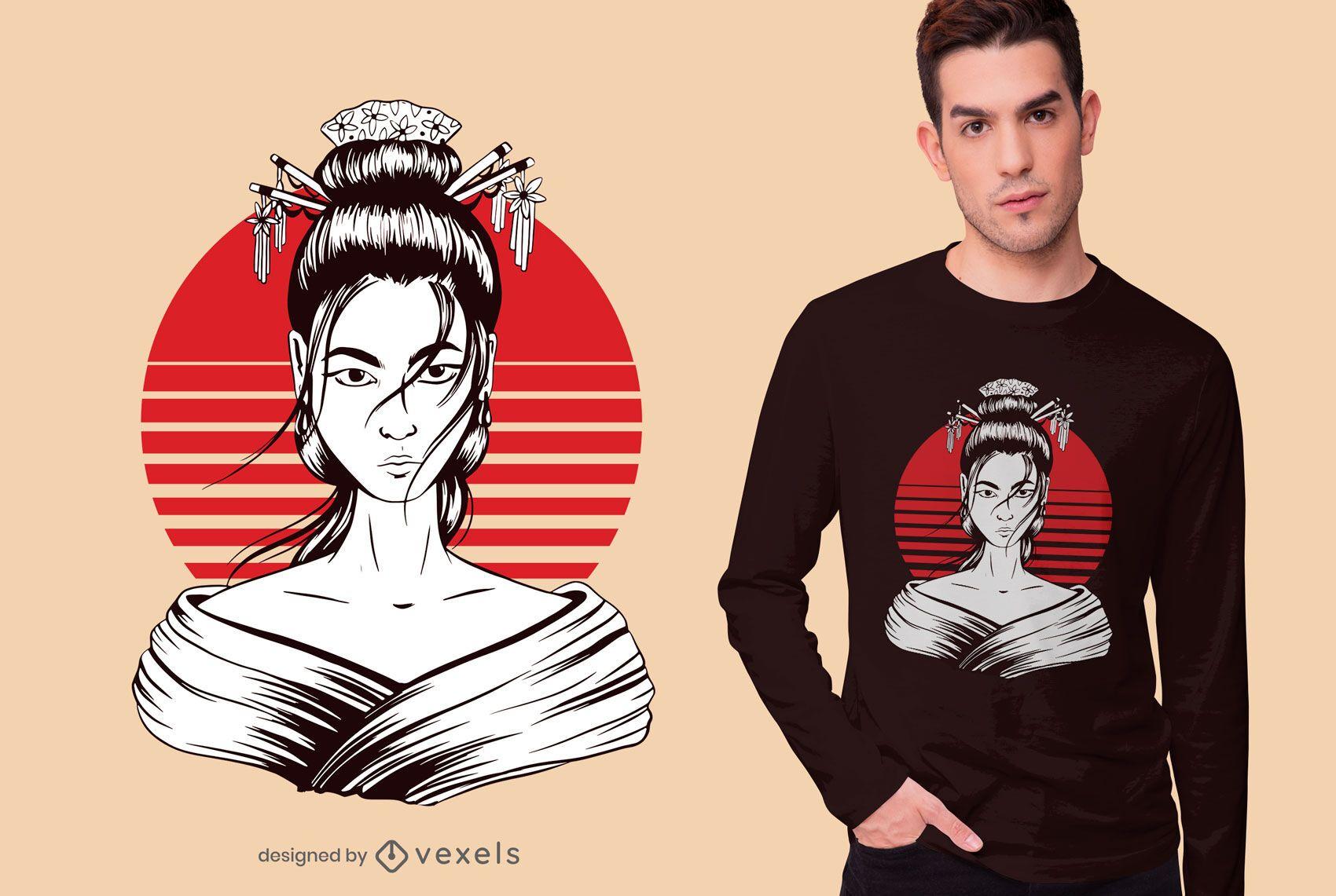 Japanese geisha t-shirt design