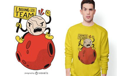 Diseño de camiseta Angry Pluto